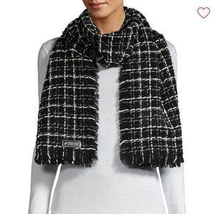 Karl Lagerfeld patterned tweed scarf
